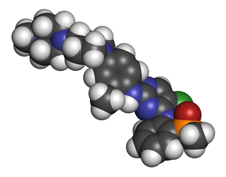 Brigatinib cancer drug molecule. 3D rendering. Atoms are represented as spheres with conventional color coding: hydrogen (white), carbon (grey), nitrogen (blue), oxygen (red), phosphorus (orange), chlorine (green).