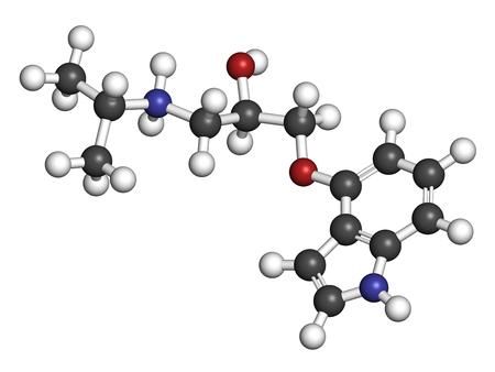 Pindolol-beta-Blocker-Arzneimittelmolekül. 3D-Rendering Atome sind als Kugeln mit konventioneller Farbkodierung dargestellt: Wasserstoff (weiß), Kohlenstoff (grau), Stickstoff (blau), Sauerstoff (rot).