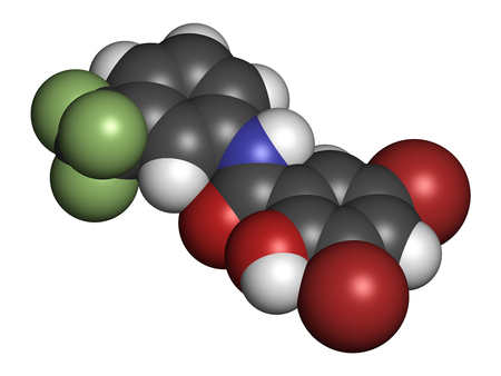 Fluorosalan antiseptic molecule. 3D rendering. Atoms are represented as spheres with conventional color coding: hydrogen (white), carbon (grey), oxygen (red), nitrogen (blue), bromine (brown), fluorine (light green). Standard-Bild
