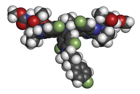 Pibrentasvir hepatitis C virus drug molecule. 3D rendering. Atoms are represented as spheres with conventional color coding: hydrogen (white), carbon (grey), nitrogen (blue), oxygen (red), fluorine (light green).