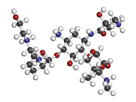 Plazomicin antibiotic drug molecule (aminoglycoside class). 3D rendering. Atoms are represented as spheres with conventional color coding: hydrogen (white), carbon (grey), nitrogen (blue), oxygen (red).
