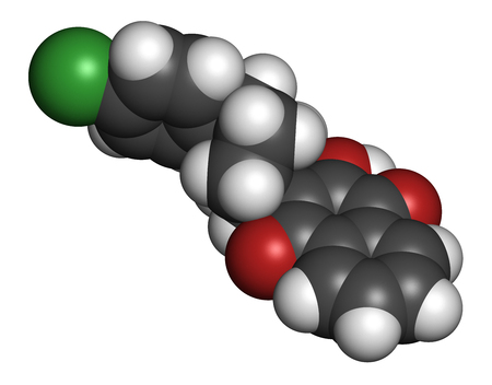 Atovaquone drug molecule. 3D rendering. Atoms are represented as spheres with conventional color coding: hydrogen (white), carbon (grey), oxygen (red), chlorine (green). Stock Photo