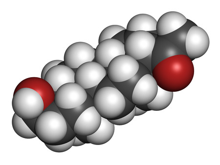 Allopregnanolone drug molecule. 3D rendering. Atoms are represented as spheres with conventional color coding: hydrogen (white), carbon (grey), oxygen (red). Stock Photo