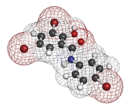 Tribromsalan disinfectant molecule. 3D rendering. Atoms are represented as spheres with conventional color coding: hydrogen (white), carbon (grey), oxygen (red), nitrogen (blue), bromine (brown).
