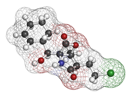 Marizomib (salinosporamide A) cancer drug molecule (proteasome inhibitor). 3D rendering. Atoms are represented as spheres with conventional color coding: hydrogen (white), carbon (grey), nitrogen (blue), oxygen (red), chlorine (green). Stock Photo