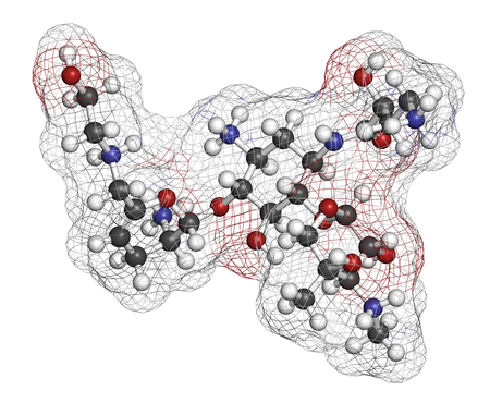 staphylococcus: Plazomicin antibiotic drug molecule (aminoglycoside class). 3D rendering. Atoms are represented as spheres with conventional color coding: hydrogen (white), carbon (grey), nitrogen (blue), oxygen (red).