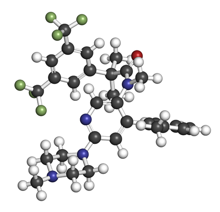 Netupitant drug molecule. NK1 receptor antagonist, used in combination for the prevention of nausea and vomiting induced by chemotherapy. 3D rendering. Atoms are represented as spheres with conventional color coding: hydrogen (white), carbon (grey), nitro Stock Photo