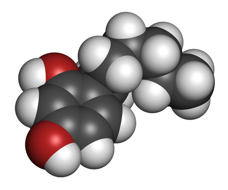 anaesthetic: Hexylresorcinol molecule. Has anaesthetic, antiseptic and anthelmintic properties. 3D rendering. Atoms are represented as spheres with conventional color coding: hydrogen (white), carbon (grey), oxygen (red). Stock Photo