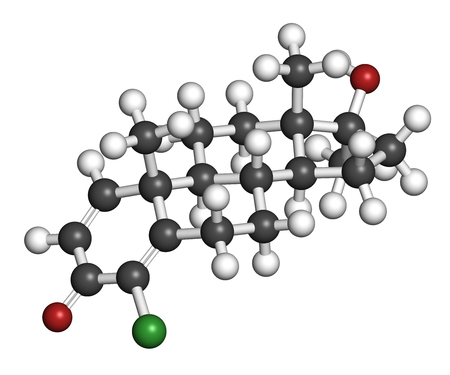 steroid: Chlorodehydromethyltestosterone (CDMT) androgenic and anabolic steroid molecule, used in sports doping. 3D rendering. Atoms are represented as spheres with conventional color coding: hydrogen (white), carbon (grey), oxygen (red), chlorine (green).