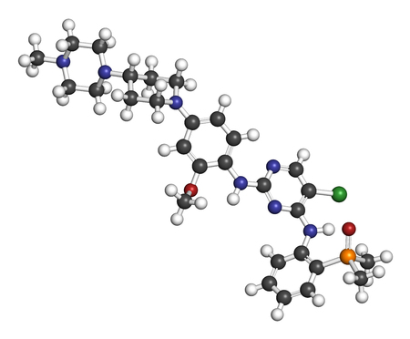 white phosphorus: Brigatinib cancer drug molecule. 3D rendering. Atoms are represented as spheres with conventional color coding: hydrogen (white), carbon (grey), nitrogen (blue), oxygen (red), phosphorus (orange), chlorine (green).