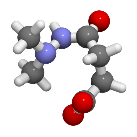 Daminozide (Alar) plant growth regulator molecule. Has been banned because of carcinogenicity concerns. 3D rendering. Atoms are represented as spheres with conventional color coding: hydrogen (white), carbon (grey), oxygen (red), nitrogen (blue).