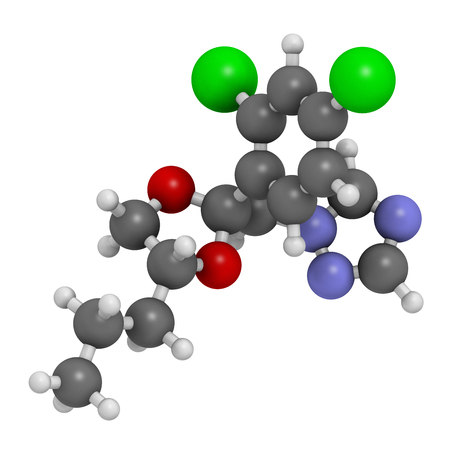 systemic: Propiconazole antifungal molecule (triazole class). 3D rendering. Atoms are represented as spheres with conventional color coding: hydrogen (white), carbon (grey), nitrogen (blue), oxygen (red), chlorine (green).