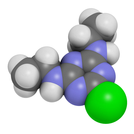 Simazine herbicide molecule. 3D rendering. Atoms are represented as spheres with conventional color coding: hydrogen (white), carbon (grey), chlorine (green), nitrogen (blue). Stock Photo