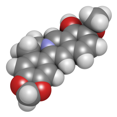 Berberine herbal medicine molecule. 3D rendering. Atoms are represented as spheres with conventional color coding: hydrogen (white), carbon (grey), nitrogen (blue), oxygen (red).