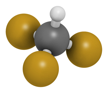 Fluoroform greenhouse gas molecule. 3D rendering. Atoms are represented as spheres with conventional color coding: hydrogen (white), carbon (grey), fluorine (gold).
