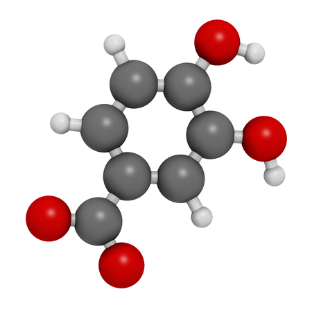 Protocatechuic acid (PCA) green tea antioxidant molecule. 3D rendering. Atoms are represented as spheres with conventional color coding: hydrogen (white), carbon (grey), oxygen (red). Stock Photo