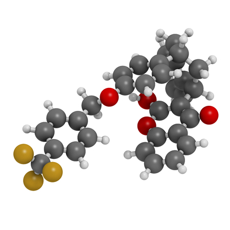 anticoagulant: Flocoumafen rodenticide molecule (vitamin K antagonist). 3D rendering. Atoms are represented as spheres with conventional color coding: hydrogen (white), carbon (grey), oxygen (red), fluorine (gold).