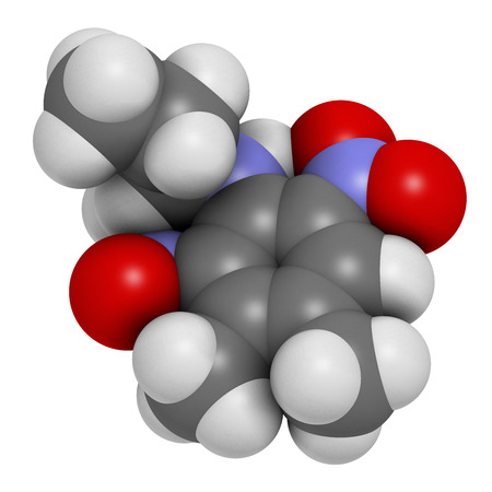 Pendimethalin herbicide molecule. 3D rendering. Atoms are represented as spheres with conventional color coding: hydrogen (white), carbon (grey), nitrogen (blue), oxygen (red).