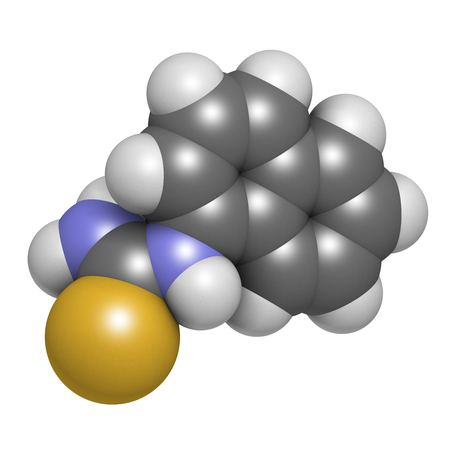 Alpha-naphthylthiourea (ANTU) rodenticide molecule. 3D rendering. Atoms are represented as spheres with conventional color coding: hydrogen (white), carbon (grey), nitrogen (blue), sulfur (yellow). Stock Photo