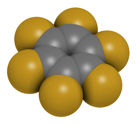 Hexafluorobenzene molecule. 3D rendering. Atoms are represented as spheres with conventional color coding: hydrogen (white), carbon (grey), fluorine (gold). Stock Photo