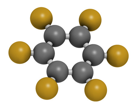 benzene: Hexafluorobenzene molecule. 3D rendering. Atoms are represented as spheres with conventional color coding: hydrogen (white), carbon (grey), fluorine (gold). Stock Photo