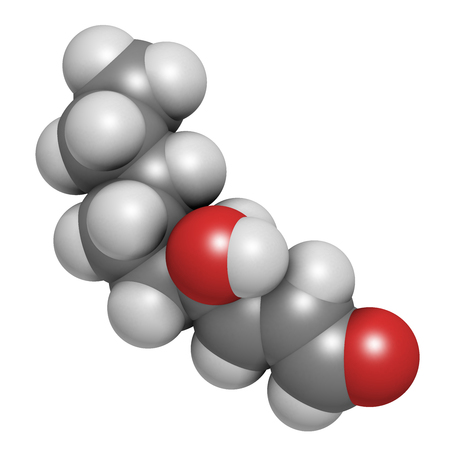 4-Hydroxynonenal (HNE) molecule. Metabolite produced by lipid peroxidation of polyunsaturated omega-6 fatty acids. 3D rendering. Atoms are represented as spheres with conventional color coding: hydrogen (white), carbon (grey), oxygen (red).