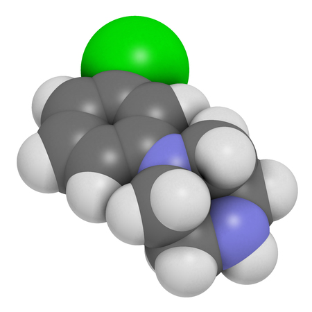 3d nitrogen: Meta-chlorophenylpiperazine (mCPP) psychoactive drug molecule. 3D rendering. Atoms are represented as spheres with conventional color coding: hydrogen (white), carbon (grey), nitrogen (blue), nitrogen (blue), chlorine (green).