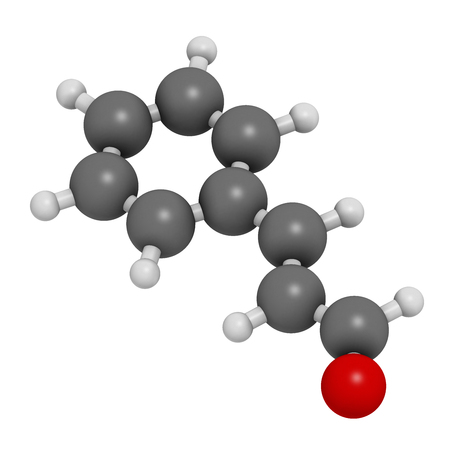 fungicide: Cinnamaldehyde (cinnamic aldehyde) cinnamon flavor molecule. 3D rendering. Atoms are represented as spheres with conventional color coding: hydrogen (white), carbon (grey), oxygen (red). Stock Photo