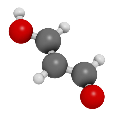 lipid: Malondialdehyde (MDA, enol form) molecule. Marker of oxidative stress and naturally produced during the lipid peroxidation of polyunsaturated fatty acids. 3D rendering. Atoms are represented as spheres with conventional color coding: hydrogen (white), car