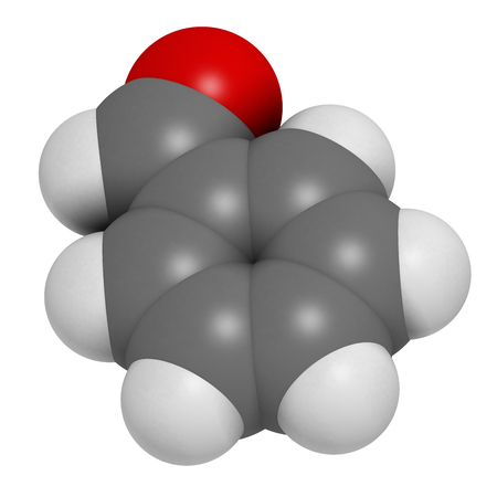benzene: Benzaldehyde bitter almond odor molecule. 3D rendering. Atoms are represented as spheres with conventional color coding: hydrogen (white), carbon (grey), oxygen (red).