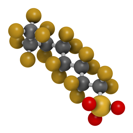 Perfluorooctanesulfonic acid (perfluorooctane sulfonate, PFOS) persistent organic pollutant molecule. 3D rendering. Atoms are represented as spheres with conventional color coding: hydrogen (white), carbon (grey), nitrogen (blue), oxygen (red), sulfur (ye