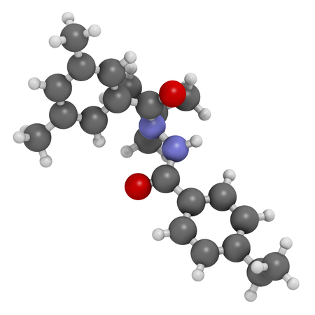 Tebufenozide insecticide molecule. 3D rendering. Atoms are represented as spheres with conventional color coding: hydrogen (white), carbon (grey), nitrogen (blue), oxygen (red).
