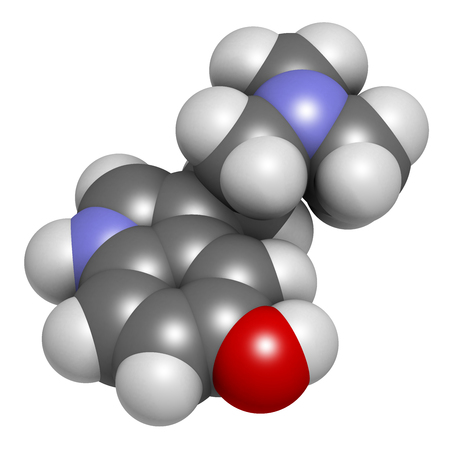 Bufotenin molecule. Tryptamine present in several psychedelic toads. 3D rendering. Atoms are represented as spheres with conventional color coding: hydrogen (white), carbon (grey), oxygen (red), nitrogen (blue).