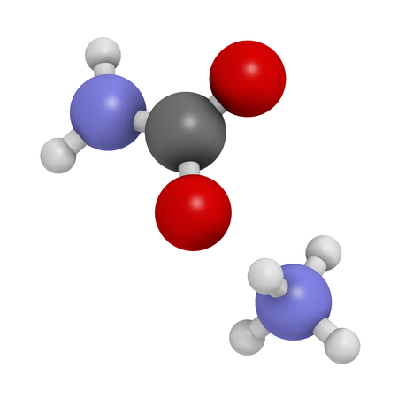 Ammonium carbamate, chemical structure. 3D rendering. Atoms are represented as spheres with conventional color coding: hydrogen (white), carbon (grey), oxygen (red), nitrogen (blue).