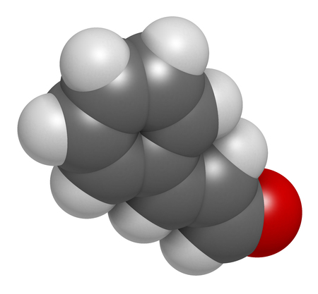 Cinnamaldehyde (cinnamic aldehyde) cinnamon flavor molecule. 3D rendering. Atoms are represented as spheres with conventional color coding: hydrogen (white), carbon (grey), oxygen (red). Stock Photo