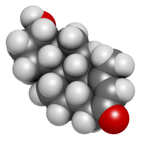 steroid: Metenolone anabolic steroid molecule. Used (banned) in sports doping. 3D rendering. Atoms are represented as spheres with conventional color coding: hydrogen (white), carbon (grey), oxygen (red).