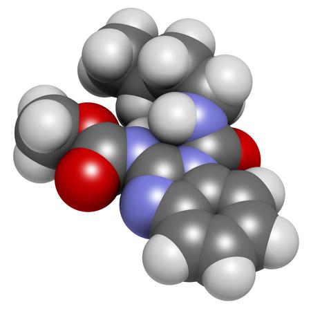 Benomyl Fungizid Molekül. 3D-Rendering. Atome werden als Kugeln mit herkömmlicher Farbcodierung dargestellt: Wasserstoff (weiß), Kohlenstoff (grau), Sauerstoff (rot), Stickstoff (blau).