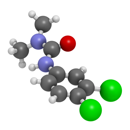 Diuron (DCMU) herbicide molecule. 3D rendering. Atoms are represented as spheres with conventional color coding: hydrogen (white), carbon (grey), nitrogen (blue), oxygen (red), chlorine (green).