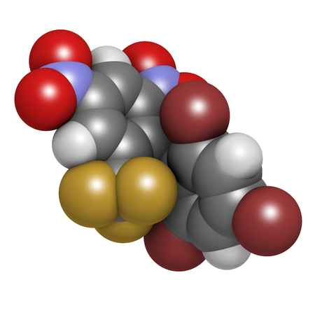 oxidative: Bromethalin rodenticide molecule (rat poison). 3D rendering. Atoms are represented as spheres with conventional color coding: hydrogen (white), carbon (grey), nitrogen (blue), oxygen (red), bromine (brown), fluorine (gold).