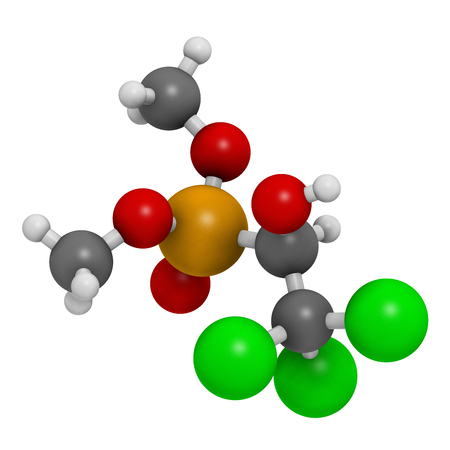 Metrifonate (trichlorfon) insecticide molecule. 3D rendering. Atoms are represented as spheres with conventional color coding: hydrogen (white), carbon (grey), oxygen (red),  chlorine (green), phosphorus (orange). Stock Photo