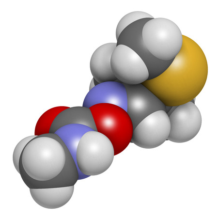 Aldicarb pesticide molecule. 3D rendering. Atoms are represented as spheres with conventional color coding: hydrogen (white), carbon (grey), oxygen (red), nitrogen (blue), sulfur (yellow). Stock Photo