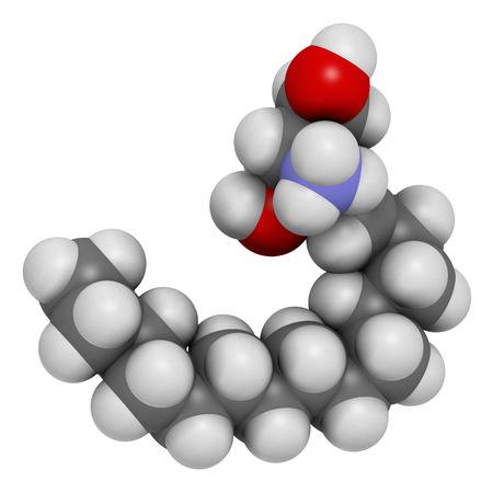 Sphingosine lipid molecule. 3D rendering. Atoms are represented as spheres with conventional color coding: hydrogen (white), carbon (grey), oxygen (red), nitrogen (blue).
