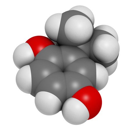 TBHQ (tert-Butylhydroquinone) antioxidant preservative molecule. 3D rendering. Atoms are represented as spheres with conventional color coding: hydrogen (white), carbon (grey), oxygen (red).