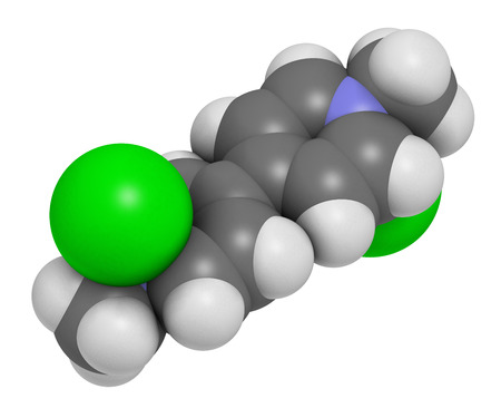 Paraquat herbicide molecule 3D rendering. Atoms are represented as spheres with conventional color coding: hydrogen (white), carbon (grey), nitrogen (blue).
