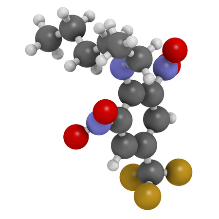 inhibition: Benfluralin herbicide molecule. 3D rendering. Atoms are represented as spheres with conventional color coding: hydrogen (white), carbon (grey), oxygen (red), nitrogen (blue), fluorine (gold). Stock Photo