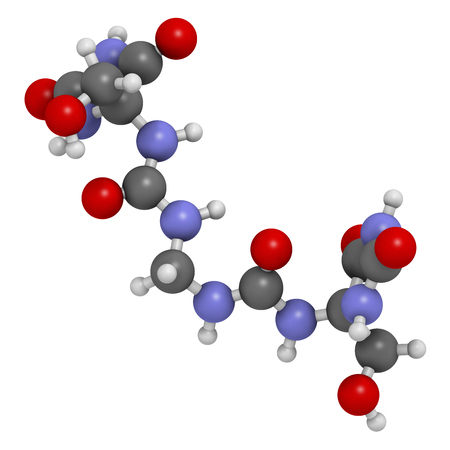 Imidazolidinyl urea antimicrobial preservative molecule (formaldehyde releaser). 3D rendering. Atoms are represented as spheres with conventional color coding: hydrogen (white), carbon (grey), oxygen (red), nitrogen (blue).