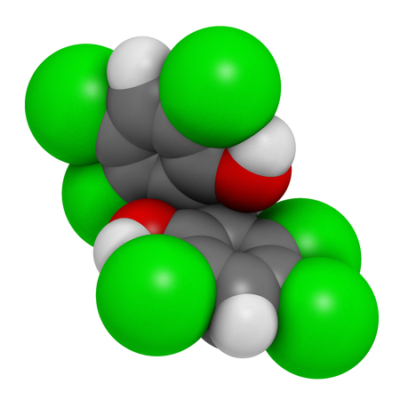fungicide: Hexachlorophene disinfectant molecule. 3D rendering. Atoms are represented as spheres with conventional color coding: hydrogen (white), carbon (grey), oxygen (red), chlorine (green). Stock Photo