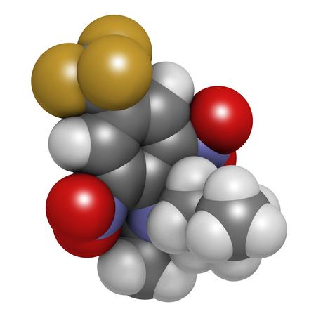 Benfluralin-Herbizidmolekül. 3D-Rendering Atome werden als Sphären mit konventioneller Farbkodierung dargestellt: Wasserstoff (weiß), Kohlenstoff (grau), Sauerstoff (rot), Stickstoff (blau), Fluor (Gold).