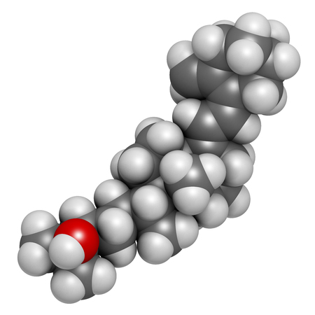 d: Calcifediol (calcidiol, 25-hydroxyvitamin D) molecule. Blood marker of vitamin D status. 3D rendering. Atoms are represented as spheres with conventional color coding: hydrogen (white), carbon (grey), oxygen (red).