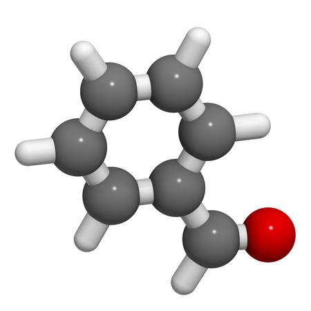 ベンズアルデヒド ビター アーモンド臭分子。3 D レンダリング。原子は従来色の球体として表されます: 水素 (白)、炭素 (灰色)、酸素 (赤)。 写真素材